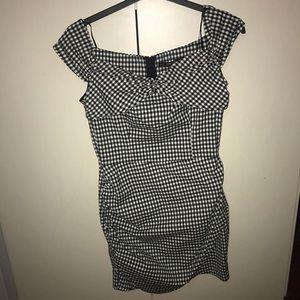 Zara patterned black and white mini dress